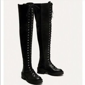 Zara Leather Lace up Over the knee Boots Chunky